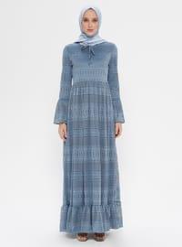 Mavi - İndigo - Yuvarlak yakalı - Astarlı kumaş - Elbise