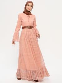 Somon - Yuvarlak yakalı - Astarlı kumaş - Elbise