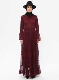 Vişne Kırmızısı - Yuvarlak yakalı - Astarlı kumaş - Elbise