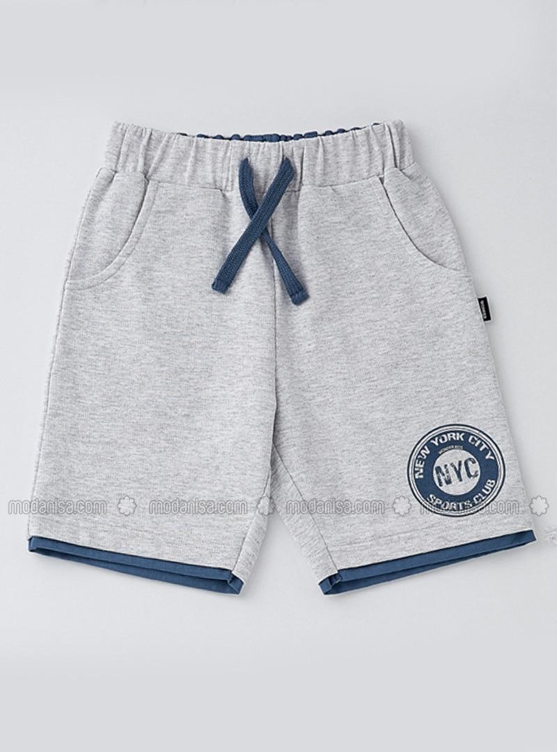 Coton - Tissu non doublé - Gris - Shorts