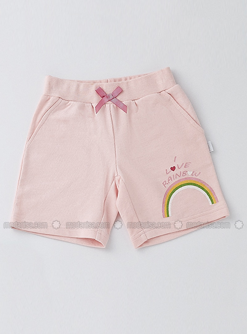 Cotton - Unlined - Pink - Girls` Shorts