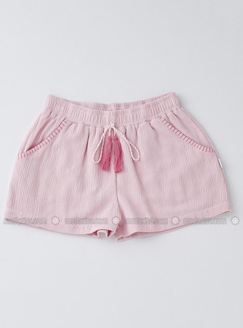 Cotton - Powder - Girls` Shorts