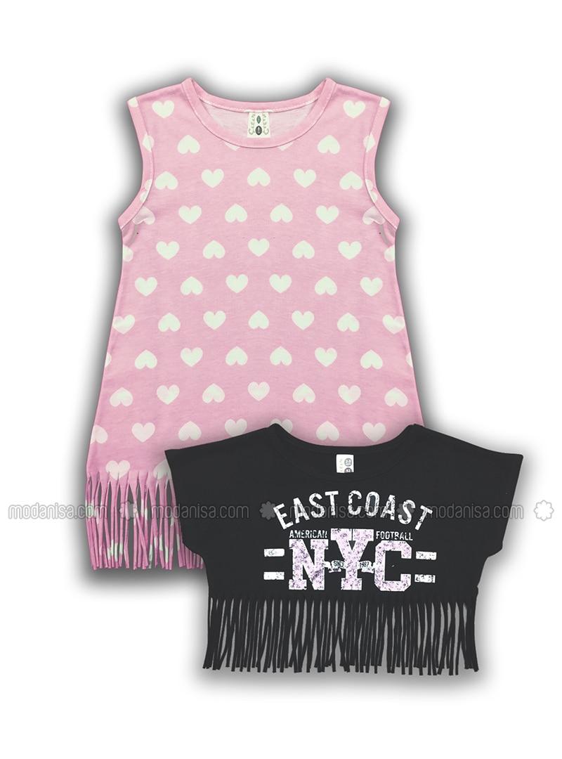 Polka Dot - Crew neck - Cotton - Unlined - White - Pink - Girls` Dress