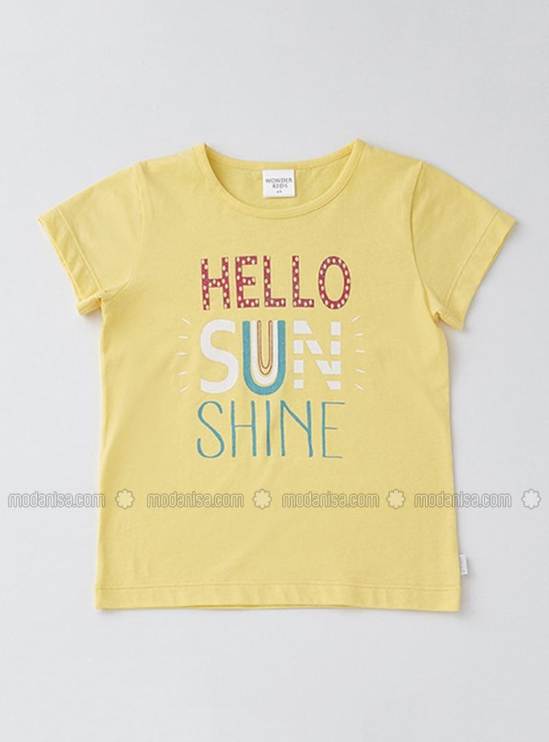Crew neck - Cotton - Yellow - Girls` T-Shirt