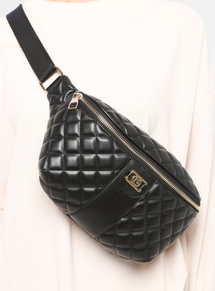 Black - Crossbody - Bum Bag - Pierre Cardin Çanta