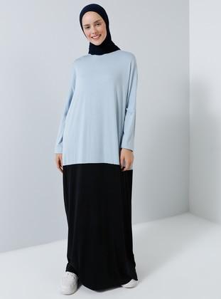 Blue - Crew neck - Unlined - Viscose - Dress