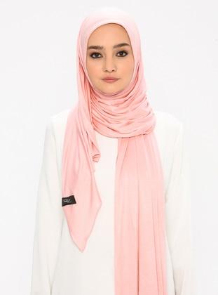 Pink - Plain - Viscose - Jersey - Shawl