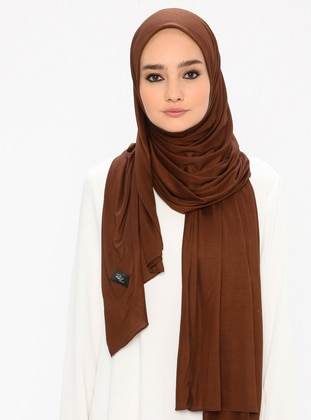 Brown - Plain - Viscose - Jersey - Shawl