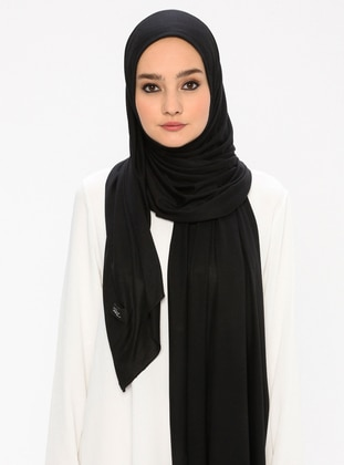 Black - Plain - Viscose - Jersey - Shawl