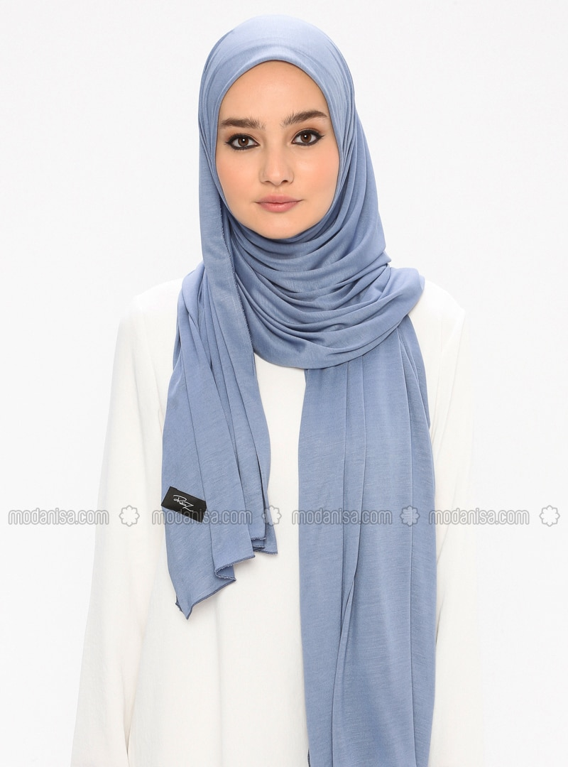 Blue - Plain - Viscose - Jersey - Shawl