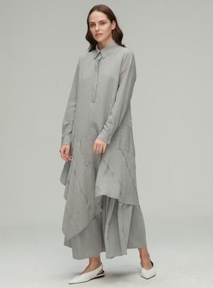 Gray - Point Collar - Viscose - Dress