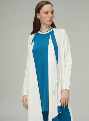 White - Shawl Collar - Rayon - Nylon - Cardigan