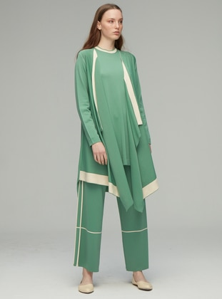 Green - Shawl Collar - Rayon - Nylon - Cardigan