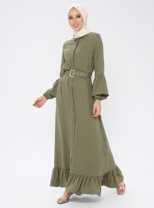 Khaki - Stripe - Point Collar - Unlined - Dress