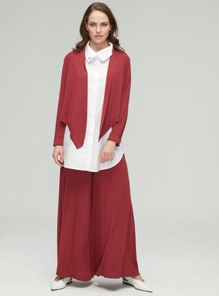 Maroon - Viscose - Pants