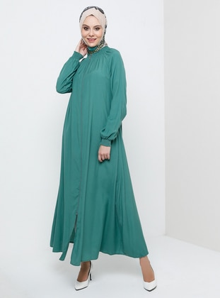Green Almond - Unlined - Crew neck - Viscose - Abaya