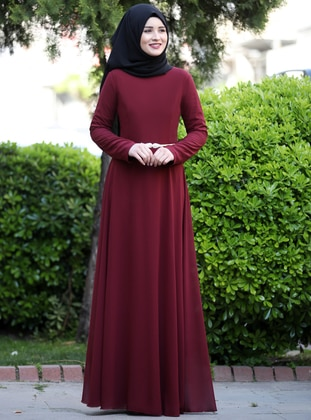 Maroon - Fully Lined - Crew neck - Chiffon - Muslim Evening Dress