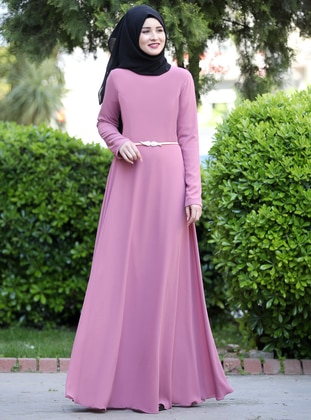 Dusty Rose - Fully Lined - Crew neck - Chiffon - Muslim Evening Dress