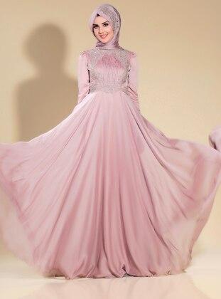 Mink - Fully Lined - Crew neck - Muslim Evening Dress