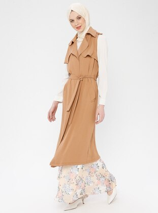 Tan - Unlined - Shawl Collar - Vest