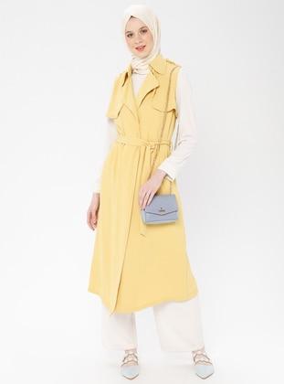 Yellow - Unlined - Shawl Collar - Vest