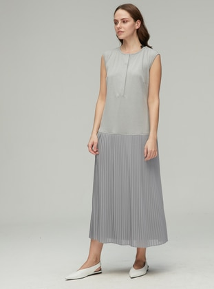 Gray - Crew neck - Viscose - Dress