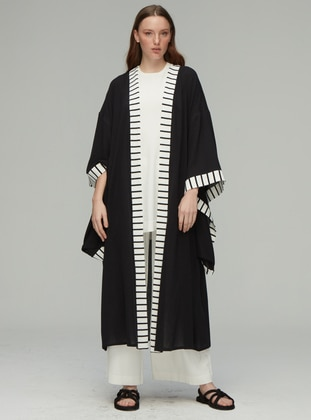 Black - Shawl Collar - Cotton - Rayon - Cardigan