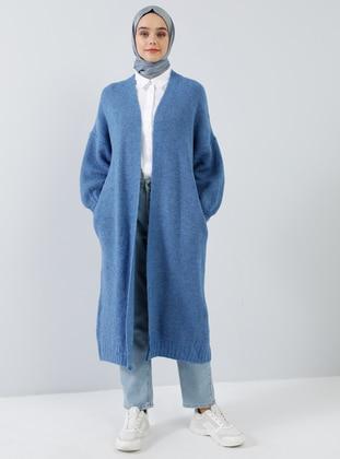 Blue - Acrylic - Cotton -  - Cardigan