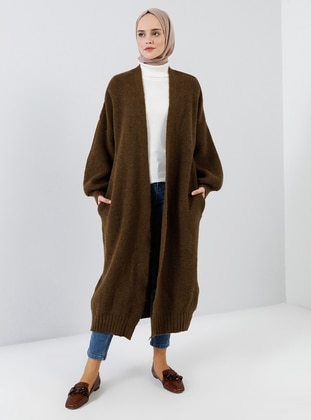Brown - Acrylic - Cotton - Cardigan