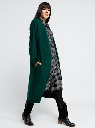 Green - Emerald - Acrylic - Cotton - Cardigan