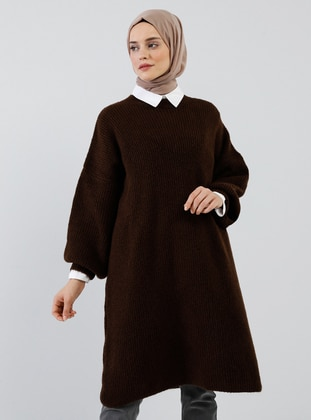Brown - Crew neck - Acrylic -  -  - Tunic
