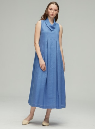 Blue - Shawl Collar - Fully Lined - Cotton - Linen - Dress