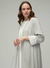 Gray - Shawl Collar - Cotton - Cardigan