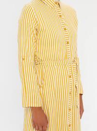 Mustard - Stripe - Point Collar - Unlined - Viscose - Dress