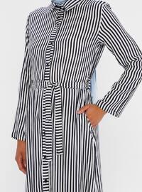 Navy Blue - Stripe - Point Collar - Unlined - Viscose - Dress