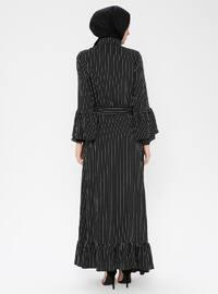 Black - Stripe - Point Collar - Unlined - Dress