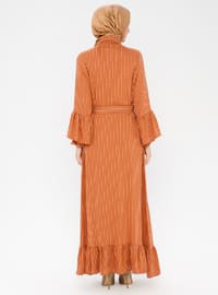 Terra Cotta - Stripe - Point Collar - Unlined - Dress