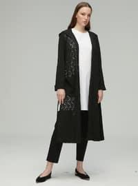 Black - Shawl Collar - Rayon - Nylon - Cardigan