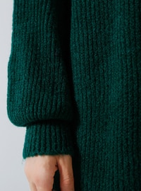 Green - Emerald - Crew neck - Acrylic -  -  - Tunic