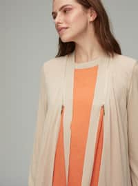Beige - Shawl Collar - Viscose - Cardigan