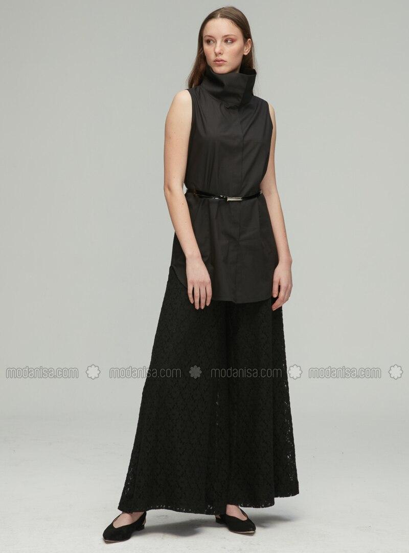 Black - Cotton - Rayon - Nylon - Pants