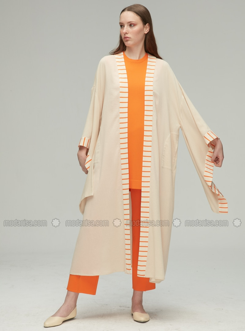Beige - Shawl Collar - Cotton - Rayon - Cardigan