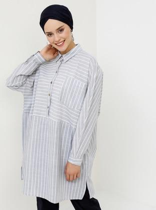 Gray - Stripe - Point Collar - Cotton - Tunic