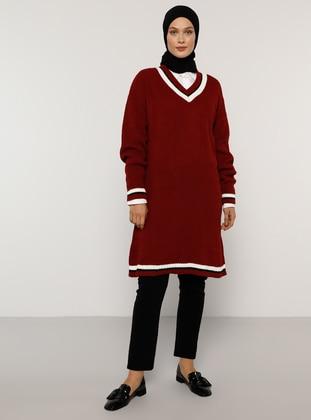 Maroon - Stripe - V neck Collar - Acrylic -  - Jumper