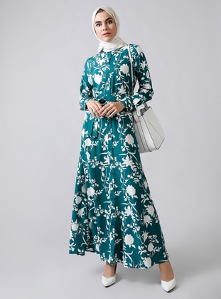 Green - Floral - Point Collar - Unlined -  - Viscose - Dress