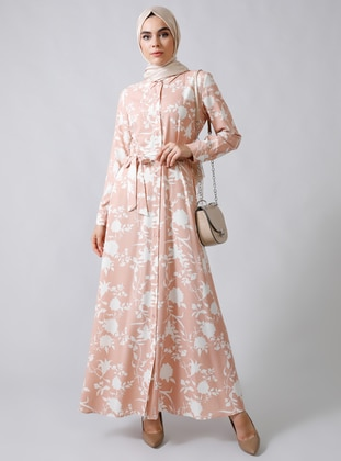Powder - Floral - Point Collar - Unlined -  - Viscose - Dress