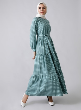 Mint - Polka Dot - Point Collar - Unlined -  - Viscose - Dress