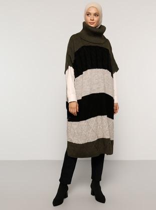 Khaki - Crew neck - Unlined - Acrylic -  - Poncho
