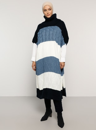 Navy Blue - Crew neck - Unlined - Acrylic -  - Poncho