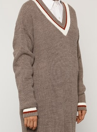 Mink - Stripe - V neck Collar - Acrylic - - Jumper